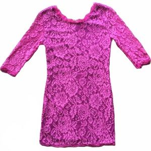 Haoduoyi Pink Lace Floral Bodycon Dress